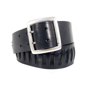 BANANA REPUBLIC Wide Dual-Prong Leather Belt ITALY